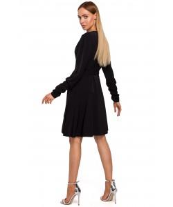 Sukienka na zakładkę M487 czarny