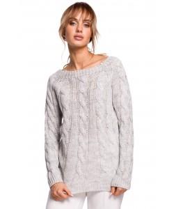 Sweter damski ze splotem w warkocz M511 szary