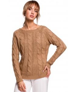 Sweter damski ze splotem w warkocz M511 beżowy