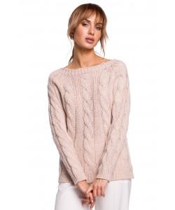 Sweter damski ze splotem w warkocz M511 pudrowy