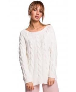 Sweter damski ze splotem w warkocz M511 ecru