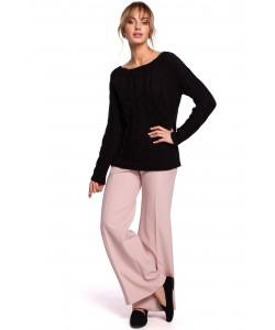Sweter damski ze splotem w warkocz M511 czarny