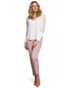 Efektowna szyfonowa bluzka K066 biała