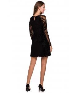 Koronkowa sukienka z rękawkami K023 czarny