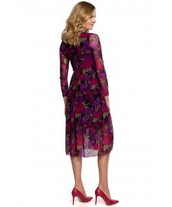 Wzorzysta sukienka z siatki K064 model 2