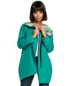 Asymetryczna bluza na zamek  B091 zielona