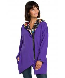 Asymetryczna bluza na zamek  B091 fioletowa