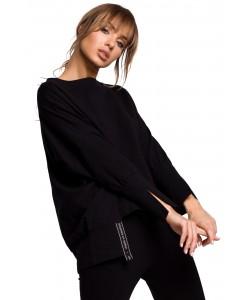 Oryginalnie skrojona bluza z rozcięciami Czarna