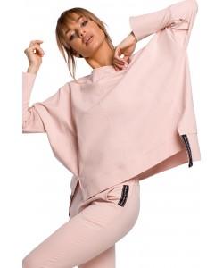 Oryginalnie skrojona bluza z rozcięciami Różowa -1