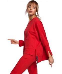 Oryginalnie skrojona bluza z rozcięciami Czerwona -1