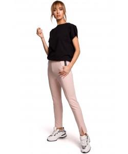 Dopasowane spodnie dresowe z rozcięciami Różowe