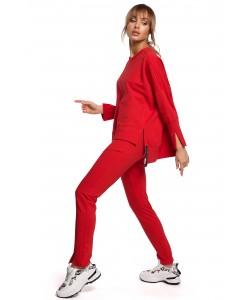 Dopasowane spodnie dresowe z rozcięciami Czerwone