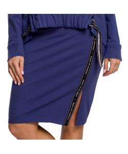 Spódnica dresowa z lampasem - Indygo