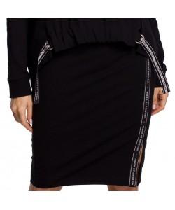 Spódnica dresowa z lampasem - Czarna WKB