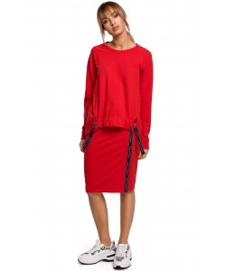 Spódnica dresowa z lampasem - Czerwona WKB