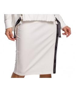 Spódnica dresowa z lampasem - Ecru WKB