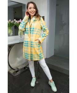 Wiosenny płaszcz w kratkę INEZ żółty