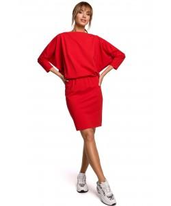 Dresowa sukienka z luźną górą, sukienki damskie, czerwona