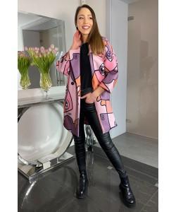 Modny wiosenny płaszcz Oliwia - Fiolet oko