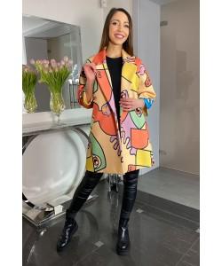Modny wiosenny płaszcz Oliwia - Żółty oko