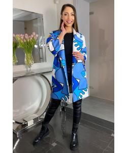 Modny wiosenny płaszcz Oliwia - Niebieski oko