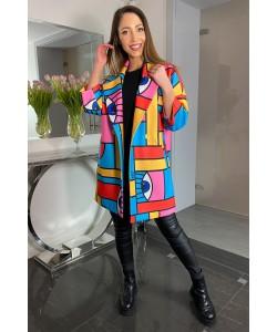 Modny wiosenny płaszcz Oliwia - Kolorowe figury