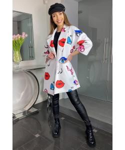 Modny wiosenny płaszcz Oliwia - Biały usta