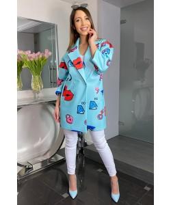 Modny wiosenny płaszcz Oliwia - Niebieski usta