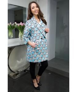 Modny wiosenny płaszcz Oliwia - Niebieski Romby