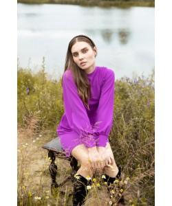 Sukienka z bufiastymi rękawami K078 wrzosowa