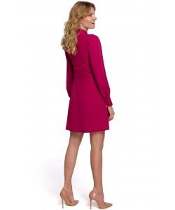 Sukienka z bufiastymi rękawami K078 wiśniowa