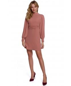 Sukienka z bufiastymi rękawami K078 różana