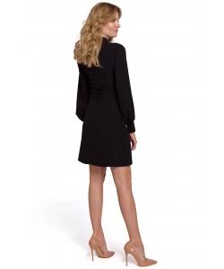Sukienka z bufiastymi rękawami K078 czarna