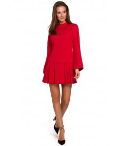 Mini sukienka z kontrafałdami K021 czerwona
