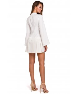 Mini sukienka z kontrafałdami K021 ecru