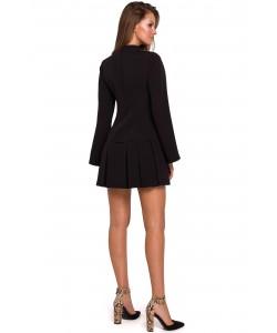 Mini sukienka z kontrafałdami K021 czarna