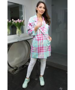 Modny wiosenny płaszcz Oliwia - Krata błękit