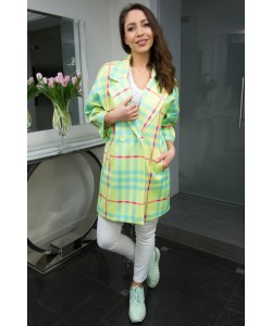 Modny wiosenny płaszcz Oliwia - Krata seledyn