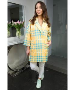 Modny wiosenny płaszcz Oliwia - Krata żółty