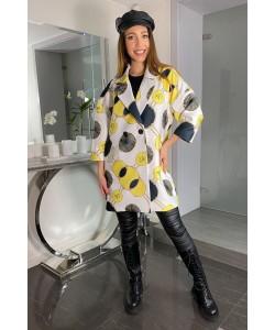 Modny wiosenny płaszcz Oliwia - Kółka żółte