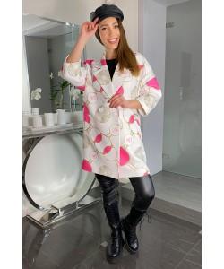 Modny wiosenny płaszcz Oliwia - Kółka różowe