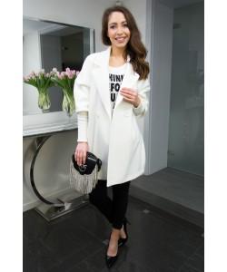 Modny wiosenny płaszcz Oliwia - Gładki ecru
