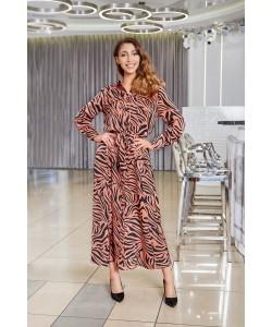 Piękna długa sukienka o kroju koszulowym -Wzró tygrys