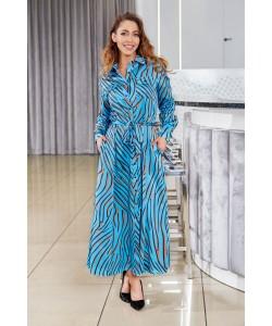 Piękna długa sukienka o kroju koszulowym - Niebieska