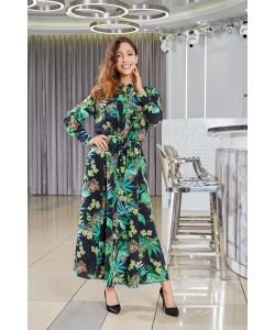 Piękna długa sukienka o kroju koszulowym - Wzór liście