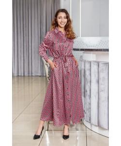 Piękna długa sukienka o kroju koszulowym - Wzór kratka