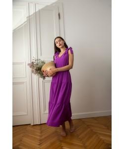 Długa sukienka z wiązanymi ramiączkami K092 fiolet