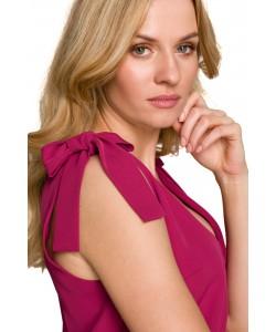 Długa sukienka z wiązanymi ramiączkami K092 wiśnia