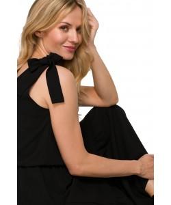 Długa sukienka z wiązanymi ramiączkami K092 czarna -2