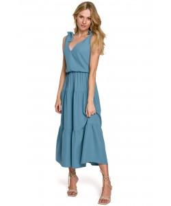 Długa sukienka z wiązanymi ramiączkami K092 błękitna